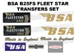 BSA B25 Fleetstar 250cc Transfer Decal Set